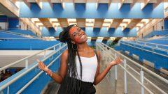 Luana cortiz (sociais) Caloura, durante a recepção dos Calouros 2019 na FFLCH (Faculdade de Filosofia,Letras,Ciências Sociais e História) da USP . Fotos: Cecília Bastos/USP Imagem