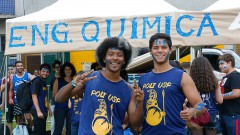 Calouros da POLI-USP participam de trote no primeiro dia na USP. Foto: Cecília Bastos