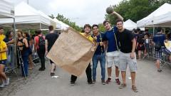 Calouros da POLI-USP participam de trote no primeiro dia na USP. Foto: Cecília Bastos/USP Imagem