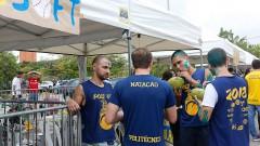 Calouros da POLI-USP participam de trote no primeiro dia na USP. Foto: Cecília