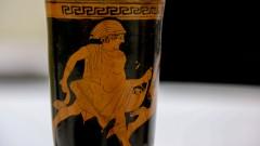 Anfora de figuras negras , da Grécia. foto Cecília Bastos/Usp Imagem Reg. 249-16