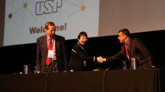João Ferreira, Ling Liu e Abu Mostafa durante o Evento Data Science . Foto: Cecília Bastos/USP Imagem