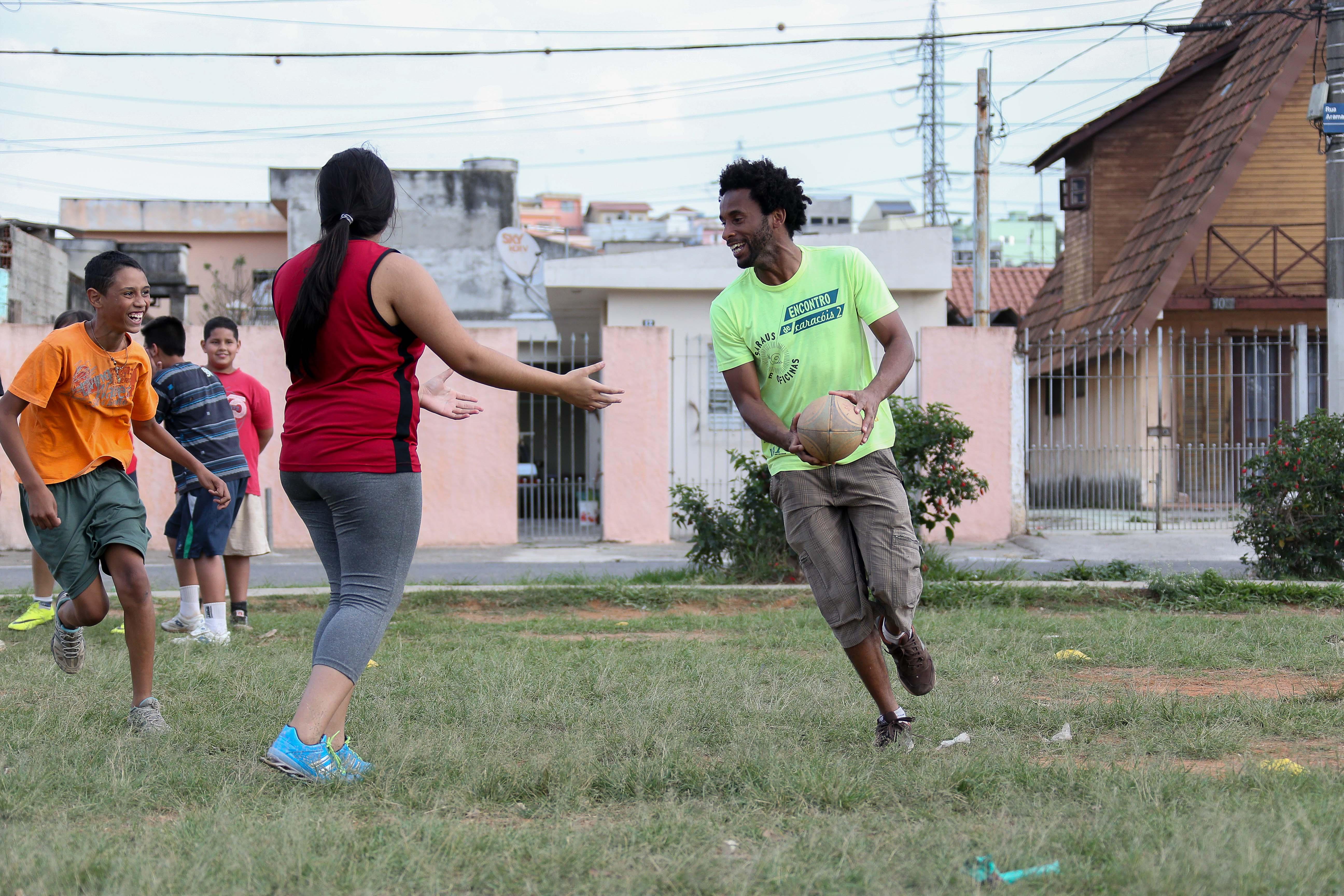 Treino de Rugbi na Associação Panoá, organização social formada por alunos da USP lESTE(EACH). foto Cecília Bastos/Usp Imagem