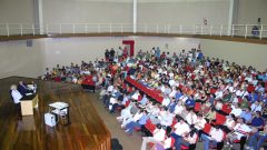 Aula magna na Capela, com a profa. Suely Vilela, reitora da USP e o prof. Marcos Cortez Campomar, diretos da FEARP, 2009
