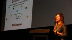 Patrícia Ellen da Silva, Secretária do Estado de Desenvolvimento Econômico do Estado de SP durante o Evento Data Science . Foto: Cecília Bastos/USP Imagem