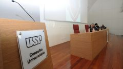 Reunião do Conselho Universitário , presidida pelo reitor e vice reitor Vahan Agopyan e Antonio Carlos Hernandes. Foto: Cecília Bastos/USP Imagem