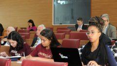 Representantes de alunos na Reunião do Conselho Universitário. Foto: Cecília Bastos/USP Imagem